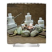 Marshmallow Family Making S'mores Over Campfire Shower Curtain