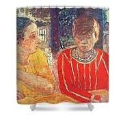 marthe in red blouse c1928 Pierre Bonnard Shower Curtain