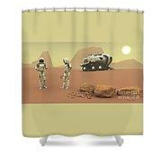 Martian Exploration Shower Curtain