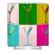 Martini Pop Art Panels Shower Curtain
