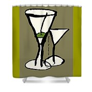 Martini With Green Background Shower Curtain
