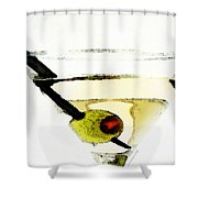 Martini With Green Olive Shower Curtain