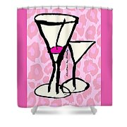 Martini With Pink Leopard Background Shower Curtain