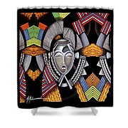 Maruvian Silver Mask Shower Curtain