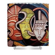 Maruvian Society Masks Shower Curtain