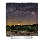 Marveling At The Creation Of God - Milky Way Panorama At Enchanted Rock - Texas Hill Country Shower Curtain
