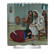 Mary Anoints The Feet Of Jesus Shower Curtain