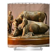 Mary Feilding Smith Praying For Her Ox Bronze Sculpture Shower Curtain