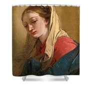 Mary Magdalene In Three-quarter View Veiled In A White Cloth Shower Curtain