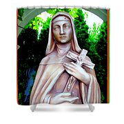 Mary With Cross Shower Curtain