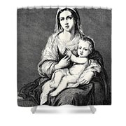 Mary With The Child Jesus Shower Curtain