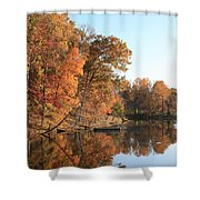 Maryland Autumns - Clopper Lake - Kingfisher Overlook Shower Curtain