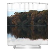 Maryland Autumns - Lake Elkhorn - Red Roof Shower Curtain
