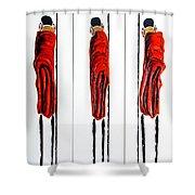Masai Warrior Triptych - Original Artwork Shower Curtain