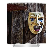 Mask On Barn Door Shower Curtain