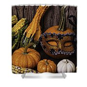 Masked Pumpkin Shower Curtain