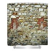 masonry Locked windows on the stone wall Shower Curtain