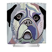 Mastiff In Denim Colors Shower Curtain