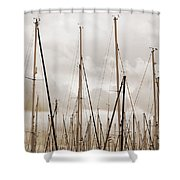 Masts In Sepia Shower Curtain