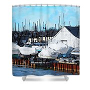 Masts On The Kinnickinnic River Shower Curtain