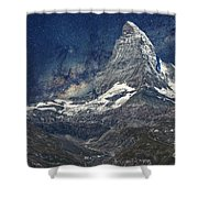 Matterhorn In Starry Night Shower Curtain