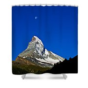 Matterhorn Under Moon Shower Curtain
