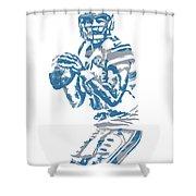 Matthew Stafford Detroit Lions Pixel Art 6 Shower Curtain
