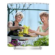 Mature Gardener Helps Senior Client With Flowers Shower Curtain