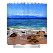 Maui Beach And View Of Lanai Shower Curtain