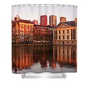 Mauritshuis And Hofvijver At Golden Hour - The Hague Shower Curtain