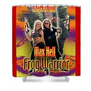 Max Hell Frog Warrior Shower Curtain by The Scott Shaw Poster Gallery