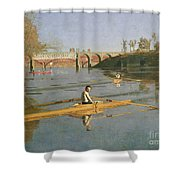 Max Schmitt In A Single Scull Shower Curtain by Thomas Cowperthwait Eakins