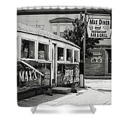 Max's Diner New Jersey Black And White Shower Curtain