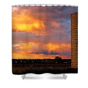 May Day Silo Sunset Shower Curtain