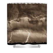 May Showers - Lightning Thunderstorm Sepia Hdr Shower Curtain