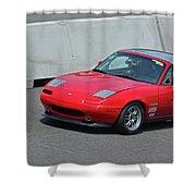 Mazda Miata On Pit Lane Shower Curtain