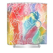 Maze Of Faces Shower Curtain by Carolyn Weir