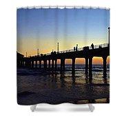 Mb Pier Sunset Shower Curtain