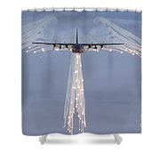 Mc-130h Combat Talon Dropping Flares Shower Curtain