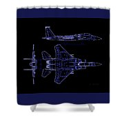 Mcdonnell Douglas F-15 Eagle Black Diagram Indigo Lines Shower Curtain