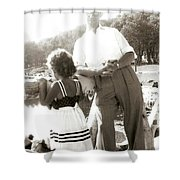 Me And Dad On The Mountain Shower Curtain