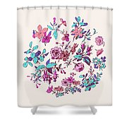 Meadow Flower And Leaf Wreath Isolated On Pink, Circle Doodle Fl Shower Curtain