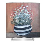 Meadow Flowers In Striped Vase  Shower Curtain