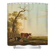 Meadow Landscape With Animals, Jacob Van Strij, 1800 - 1815 Shower Curtain
