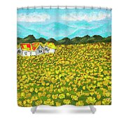 Meadow With Yellow Dandelions, Oil Painting Shower Curtain