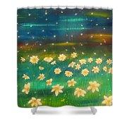 Meadows And Fireflies Shower Curtain