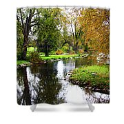 Meandering Creek In Autumn Shower Curtain