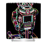 Mechanical Mighty Sparking Robot Shower Curtain