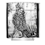 Mechanical Wolf Shower Curtain