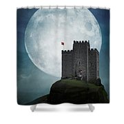 Medieval Castle At Night By Moonlight Shower Curtain
